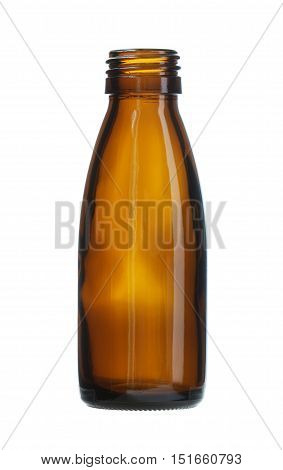 Brown Glass Bottle Threaded Mouth isolated on white background