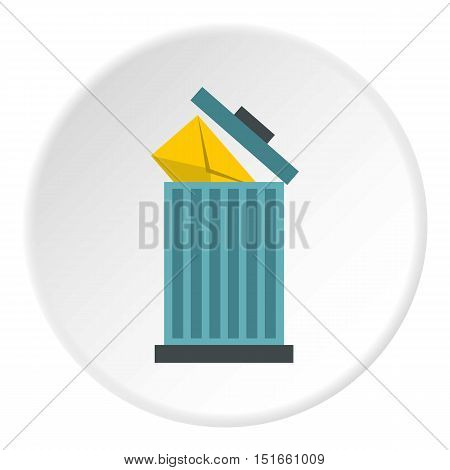 Delete letter in basket icon. Flat illustration of delete letter in basket vector icon for web