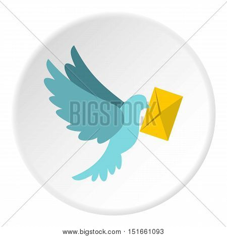 Dove with letter icon. Flat illustration of dove with letter vector icon for web
