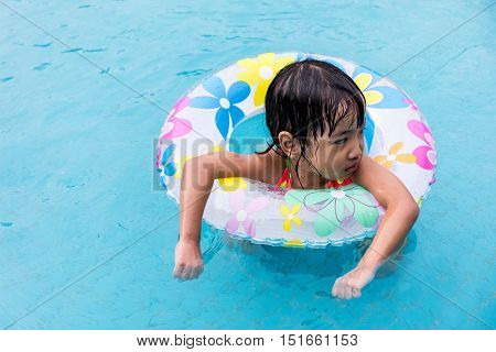 Asian Chinese Little Girls Swimming In The Pool