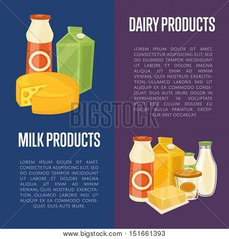 Dairy products vertical flyers with different milk composition isolated on color background vector illustrations. Organic farmers food. Organic food and dairy product concept. Milk product icon. Cartoon dairy product. Dairy icon.