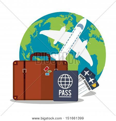 Airplane passport tickets suitcase and planet icon. Payment shopping commerce and merket theme. Colorful design. Vector illustration