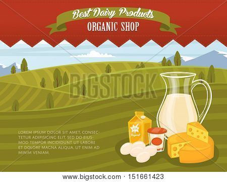 Farm products banner with dairy product on wooden table and rustic background of green rural landscape vector illustration. Dairy farm food. Healthy nutritious food concept. Rstic dairy food. Organic product. Dairy concept. Milk product.