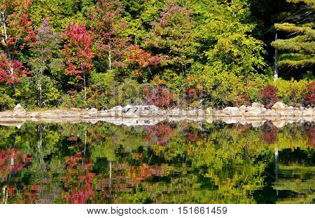 lake reflection in new england on an autumn day