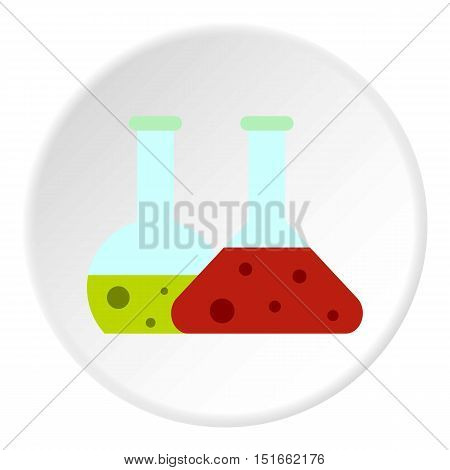 Laboratory flasks icon. Flat illustration of laboratory flasks vector icon for web