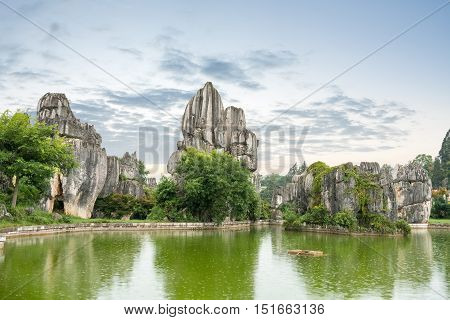 stone forest scenic national park kunming city yunnan province China.