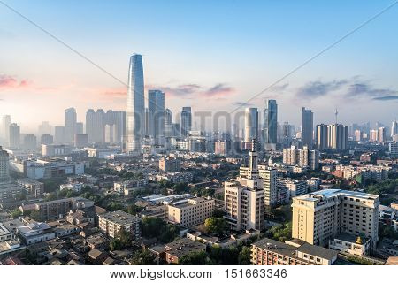 modern cityscape of tianjin with morning glow China