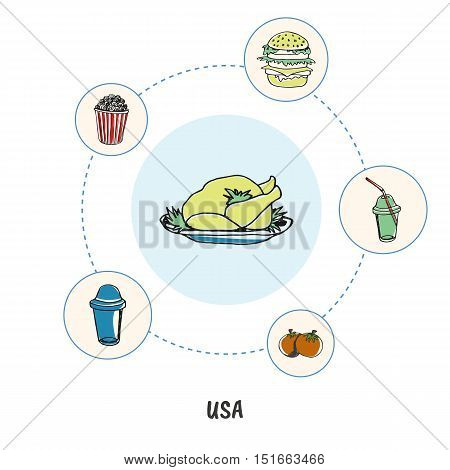 Attractive USA. Thanksgiving turkey colored doodle surrounded soda, hamburger, popcorn bucket, tomatoes hand drawn vector icons. American culinary and fast food symbols. Travel in United States