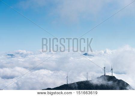 inland wind farm with the sea of clouds on jiugong mountain hubei provinceChina