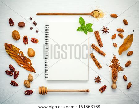 Desserts Background And Menu Design . Various Nuts Pecan, Almonds,coffee  Beans ,cocoa Beans ,cocoa
