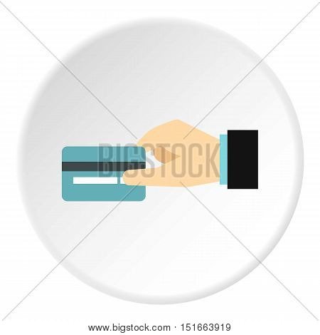 Hand holding credit card icon. Flat illustration of hand holding credit card vector icon for web