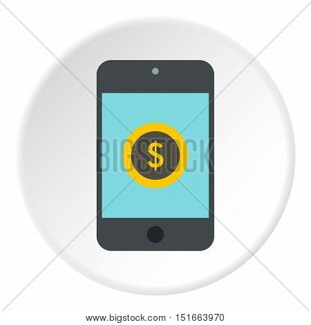 Online purchase in smartphone icon. Flat illustration of online purchase in smartphone vector icon for web