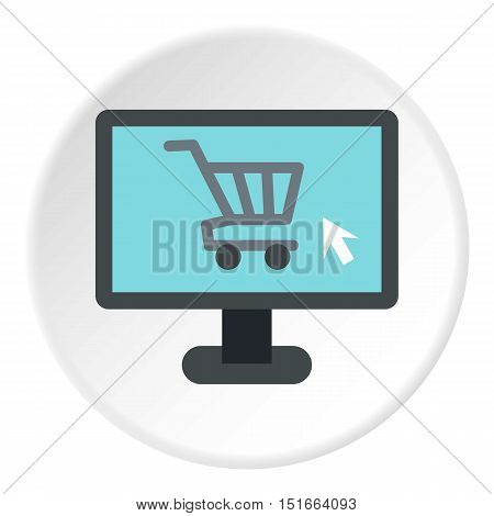 Purchase at online store through computer icon. Flat illustration of purchase at online store through computer vector icon for web