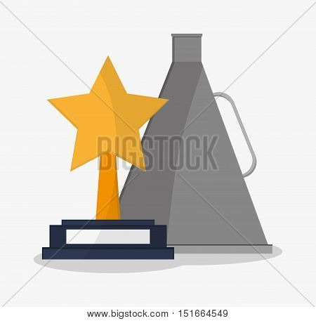 Star trophy and megaphone icon. Cinema movie video film and entertainment theme. Colorful design. Vector illustration