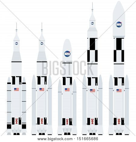 Spaceships. Set of space launch vehicles. The illustration on a white background.