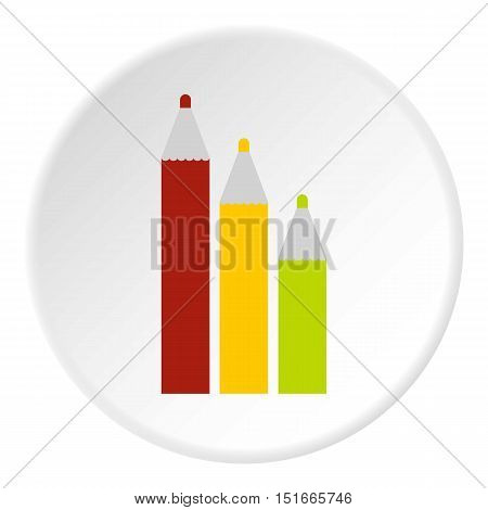 Three colored pencils icon. Flat illustration of three colored pencils vector icon for web