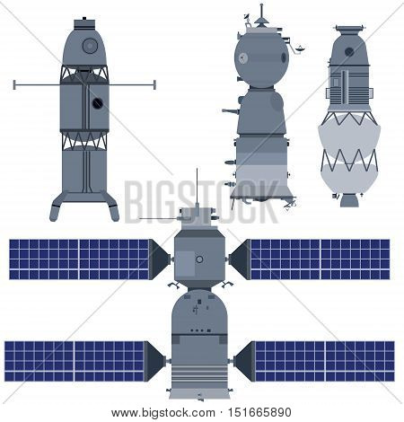 Military research spacecraft. The illustration on a white background.