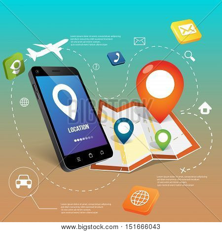 phone and sign locations , map vector illustraion
