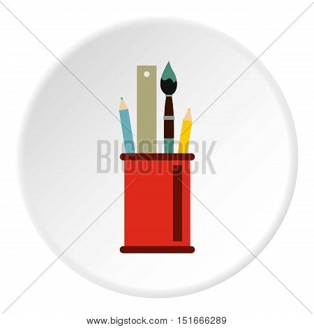 Paint brushes, ruler and pencils in a glass icon. Flat illustration of paint brushes, ruler and pencils in a glass vector icon for web