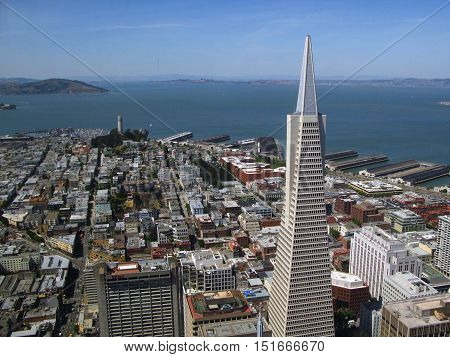 View of San Francisco, in the foreground, the Transamerica tower. In the background, the Coit Tower, North Beach and Russian Hill district and the bay.