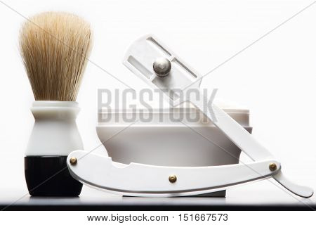 traditional shaving razor brush and shaving cream