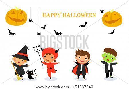 Cute kids wearing Halloween monster costume