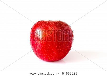 Red Apple With Drops  On White