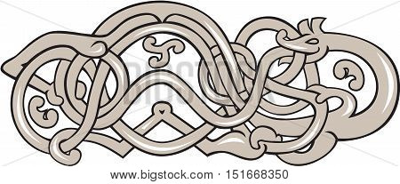 Illustration of an urnes snake with extended stomach in grey set on isolated white background done in retro style.