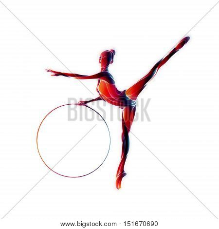 Rhythmic Gymnastics with Hoop Color Silhouette on white background