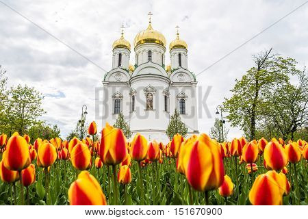 Eautiful Church In Russia There Foreground Is Brightly Colored Tulips.