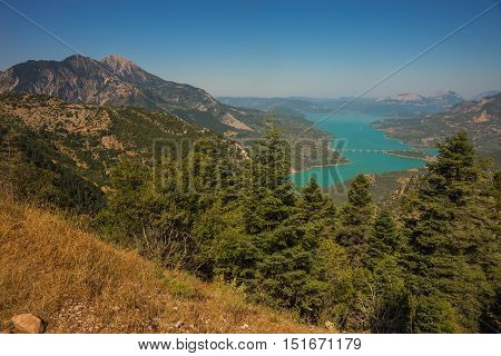 Scenic View From The Mountain To Kremaston Lake, Evritania, Greece
