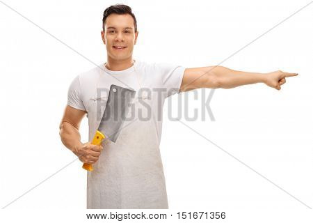 Butcher holding a cleaver and pointing right isolated on white background