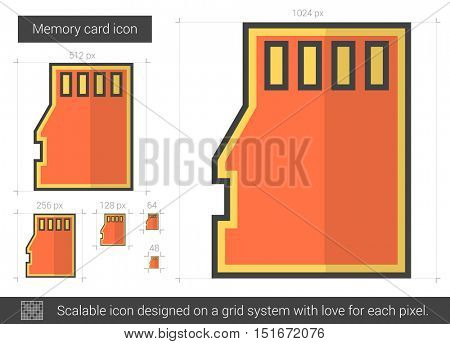 Memory card vector line icon isolated on white background. Memory card line icon for infographic, website or app. Scalable icon designed on a grid system.