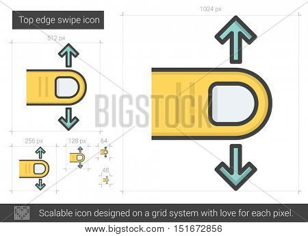 Top edge swipe vector line icon isolated on white background. Top edge swipe line icon for infographic, website or app. Scalable icon designed on a grid system.