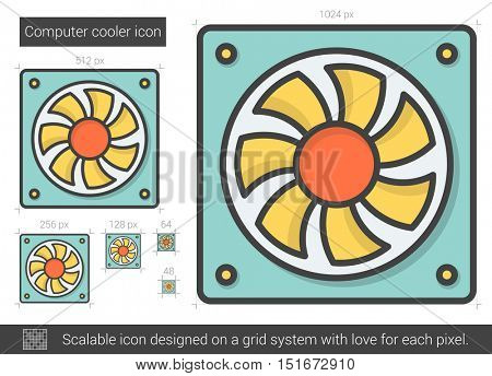 Computer cooler vector line icon isolated on white background. Computer cooler line icon for infographic, website or app. Scalable icon designed on a grid system.