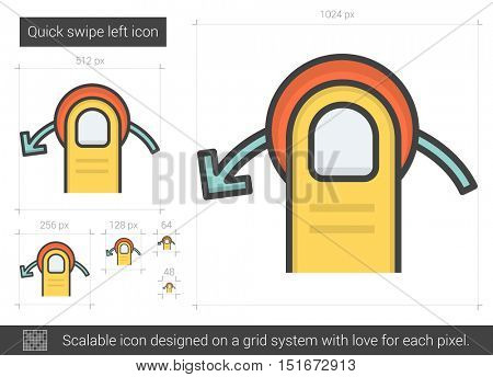 Quick swipe left vector line icon isolated on white background. Quick swipe left line icon for infographic, website or app. Scalable icon designed on a grid system.
