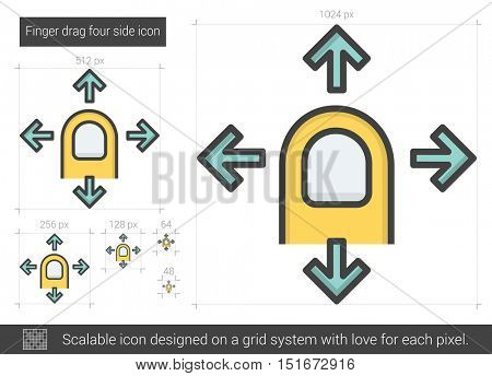 Finger drag four side vector line icon isolated on white background. Finger drag four side line icon for infographic, website or app. Scalable icon designed on a grid system.