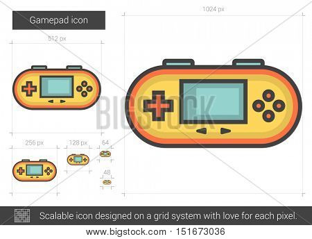 Gamepad vector line icon isolated on white background. Gamepad line icon for infographic, website or app. Scalable icon designed on a grid system.