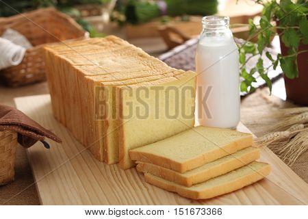 Sliced Bread and bottle of milk for breakfast