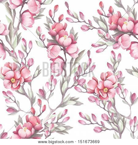 Seamless pattern with the Japanese quince. Watercolor illustration