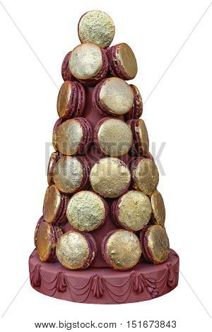Gold Tower Made From French Macaroon Cookies Isolated