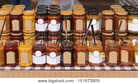 Marmalade Jam Chutney Fruit Preserves in Jars