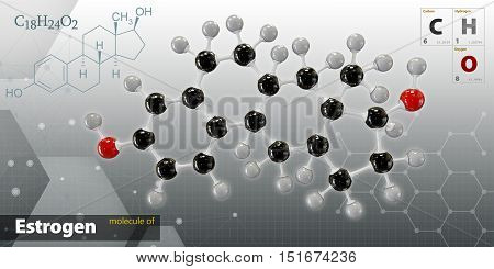 Illustration Of Estrogen Molecule Isolated Dark Background