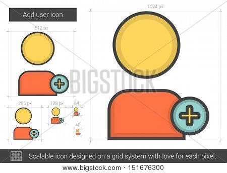 Add user vector line icon isolated on white background. Add user line icon for infographic, website or app. Scalable icon designed on a grid system.
