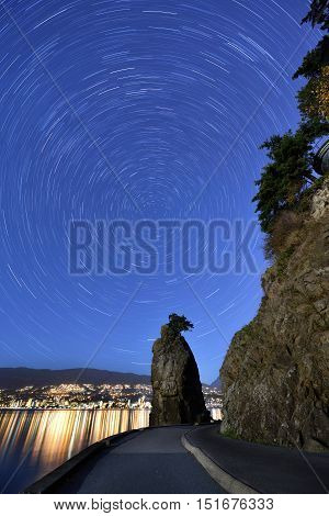 Siwash Rock And Star Trails, Stanley Park, Vancouver