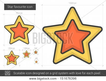 Star favourite vector line icon isolated on white background. Star favourite line icon for infographic, website or app. Scalable icon designed on a grid system.