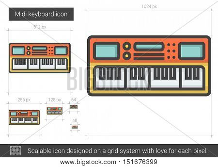 Midi keyboard vector line icon isolated on white background. Midi keyboard line icon for infographic, website or app. Scalable icon designed on a grid system.
