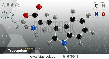 Illustration Of Tryptophan Molecule Isolated Gray Background