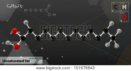 3d Illustration of unsaturated fat Molecule isolated gray background
