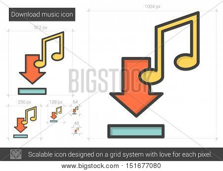 Download music vector line icon isolated on white background. Download music line icon for infographic, website or app. Scalable icon designed on a grid system.